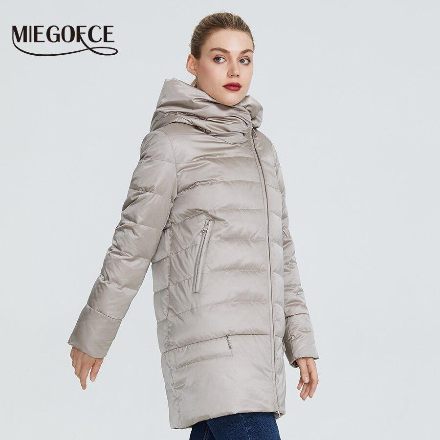 Miegofce 2019 겨울 여성 컬렉션 여성 따뜻한 자켓 여성 코트와 재킷 겨울 방풍 스탠드 칼라 후드-에서파카부터 여성 의류 의  그룹 3
