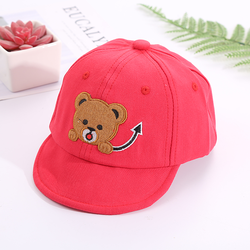 H8c164931caa5461fa532f8e684eda127u - Baby Hat Cute Bear Embroidered Kids Girl Boy Caps Cotton Adjustable Newborn Baseball Cap Infant Toddler Beach Outdoor Sun Hat
