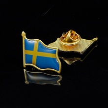 Sweden Waving Friendship Flag Metal Lapel Pin United Nations Badge Pin-Back Tie Badge 5 pieces sweden collectible metal pin united nations flag badge for clothing lapel ornament