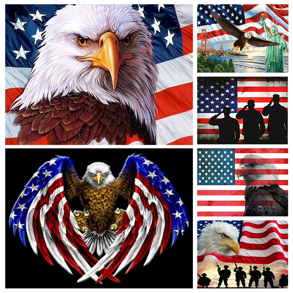 5D DIY Full Drill Square Round Diamond Painting Kit,Eagle and Flag Cross Stitch,Diamond Embroidery Wall Painting Home Decor NEW 2021