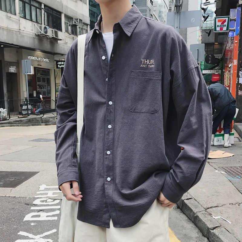Privathinker męskie koszulka solid z długim rękawem 2019 człowiek koreański mody poniedziałek koszula haftowana męskie Streetwear wiosna kobiety koszule