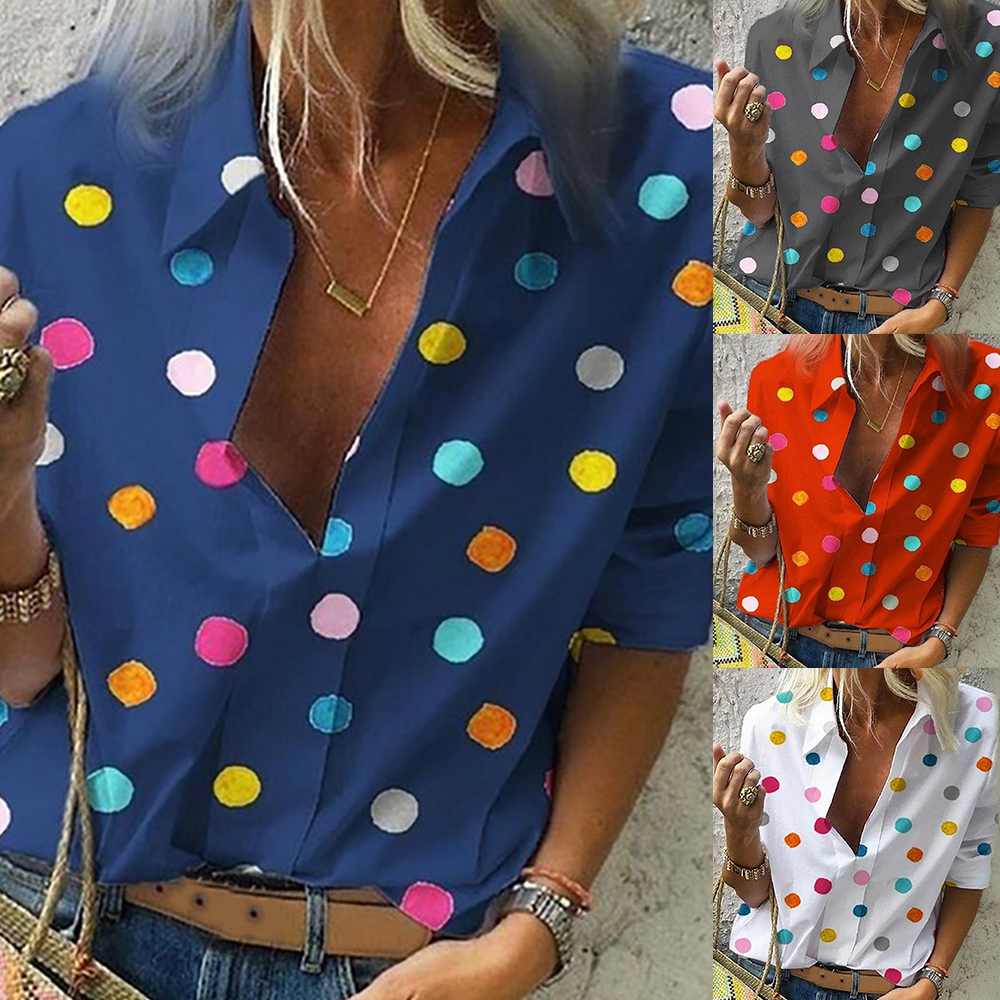 Fashion Dot Print Ladies Shirt Autumn Colorful Blusas Long Sleeve Casual Women Top Boho Chemisier Femme Button Blouse Mujer 2019(China)