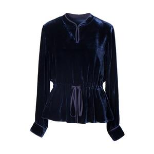 Image 4 - SuyaDream Long Sleeved Mandarin Collar Belted Waist Velour Blouses Solid Office Lady Blouse Shirt 2019 Autumn Shirt