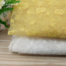 high-grade 1yard white / yellow Organza embroidered flower lace fabric diy Fashion wedding dress skirt accessories