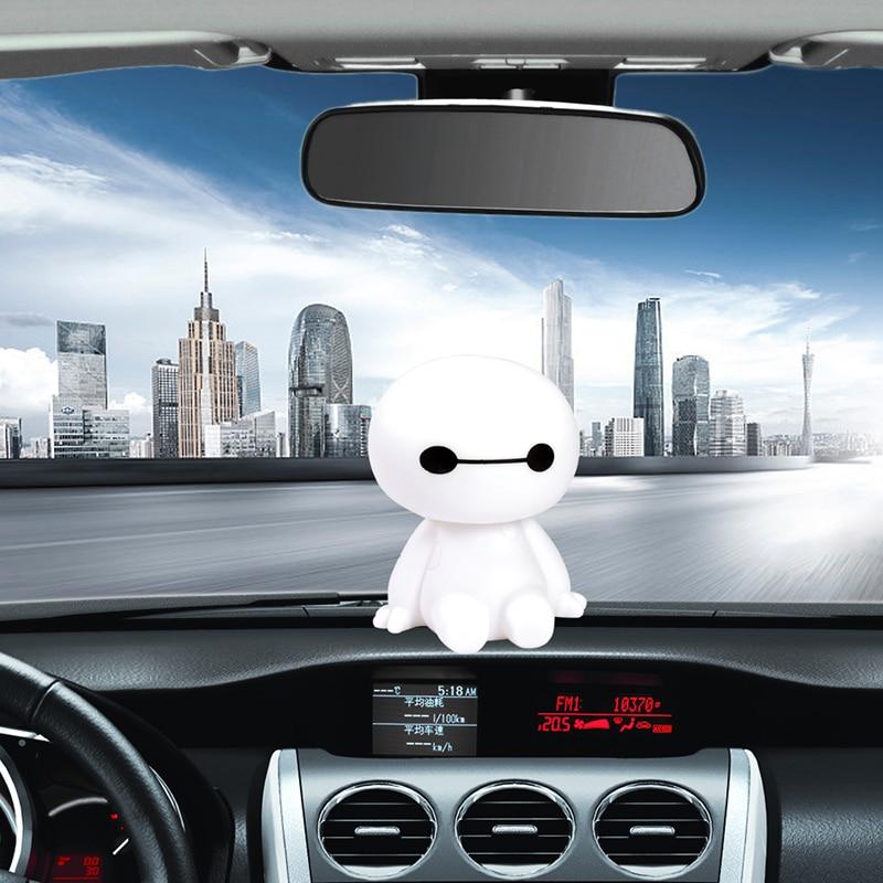 Plastic Material Baymax Robot Shaking Head Figure Car Auto Interior Decoration