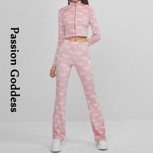 Cute Women 2 Piece Velvet Sets Soft Cosy Tracksuits Babe Letter Printed Zipper Jackets High Waist Flare Pants Two Piece Outfits