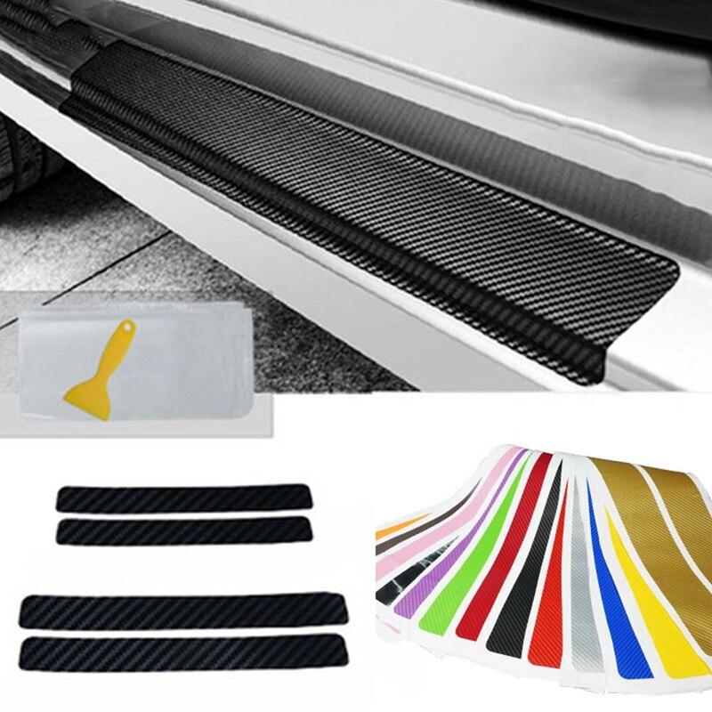 4PCS Accessory 3D Carbon Fiber Car Plate Door Sill Scuff Plate Cars Sticker