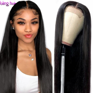 Image 1 - 13x4 Lace Front Human Hair Wigs Pre Plucked Remy Brazilian Straight 4x4 Closure Wig With Baby Hair For Women 180% Desity 30 Inch