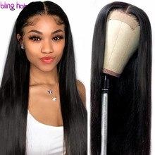 13x4 Spitze Front Menschliches Haar Perücken Pre Gezupft Remy Brasilianische Gerade 4x4 Verschluss Perücke Mit baby Haar Für Frauen 180% Desity 30 Zoll