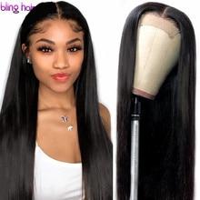 13x4 dantel ön İnsan saç peruk ön koparıp Remy brezilyalı düz 4x4 kapatma peruk kadınlar için bebek saç 180% yoğunluklu 30 inç
