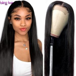 Image 1 - 13x4 dantel ön İnsan saç peruk ön koparıp Remy brezilyalı düz 4x4 kapatma peruk kadınlar için bebek saç 180% yoğunluklu 30 inç