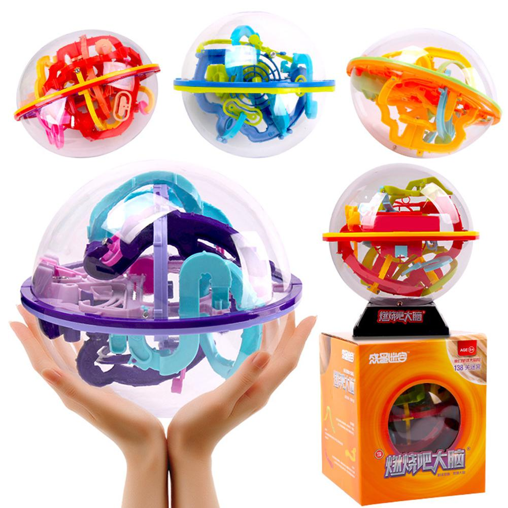 3D Intellect Puzzle Ball Maze Game For Children Educational Metal Toy Wooden Learning Creativity Kids Maze Ball Labyrinth Toys