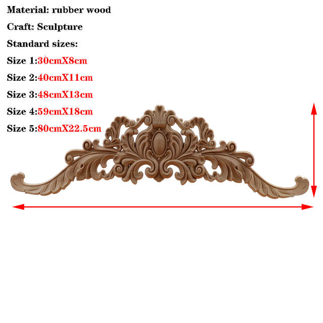 RUNBAZEF  European Wood Carving Home Wholesale Multi-specification Door Cabinets Wood Applique Decoration Long Decals Natural 4