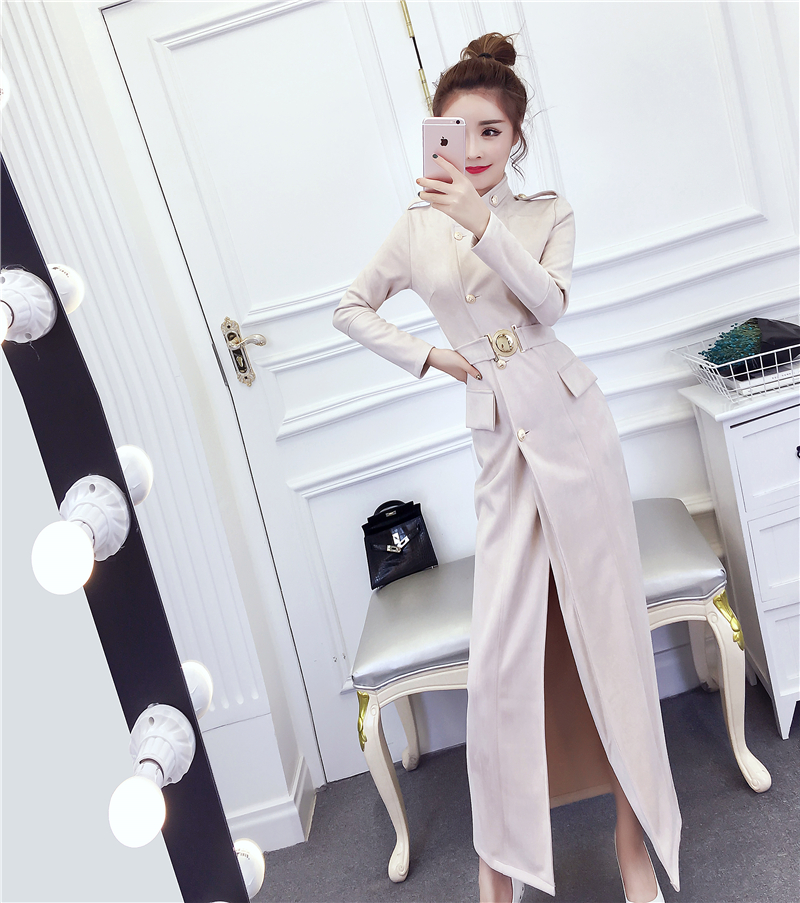 Women Long Faux PU Leather Suede Caat With Belted Autumn New Fashion Ladies Elegant Trench Female Outerwear