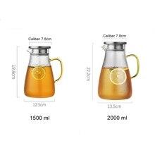1500/2000 мл, прозрачный стеклянный кувшин для воды, чайник, термостойкий карамовый сок, чайный горшок, кувшин с фильтром из нержавеющей стали