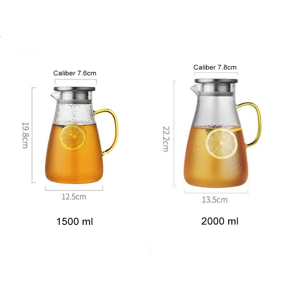 1500/2000ML Transparent Glass Water Jugs Kettle Heat Resistant Carafe Juice Tea Pot Pitcher With Stainless Steel Filter