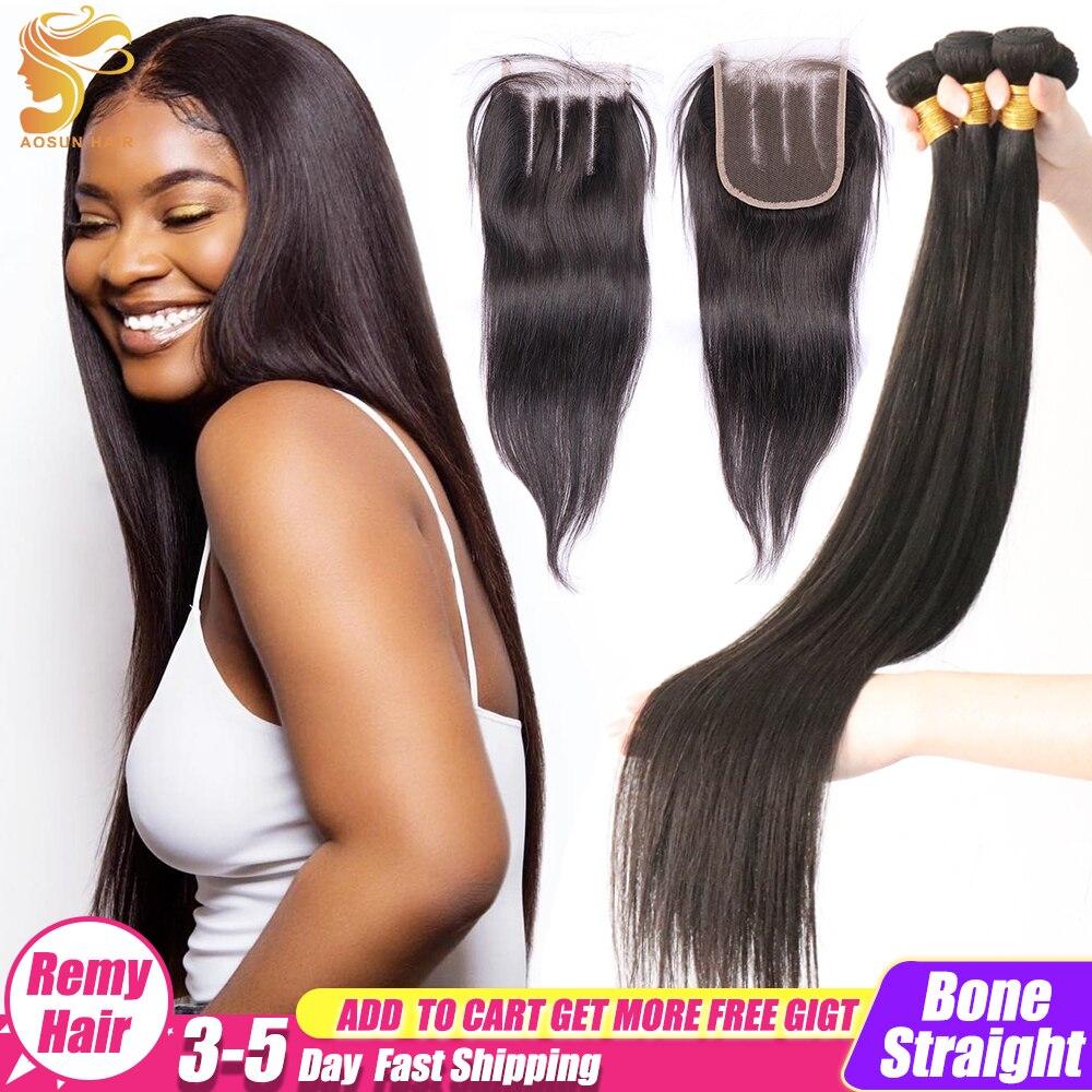 AOSUN кости прямые волосы пряди с закрытием бразильские волосы, волнистые пряди 100% Пряди человеческих волос для наращивания Волосы Remy натурал...