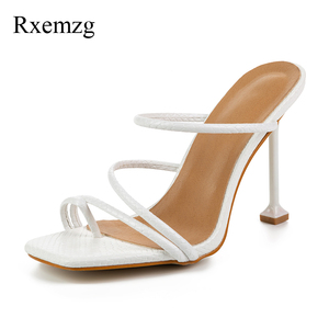 Image 4 - Rxemzg women slippers summer outdoor flip flops women square toe high heels slippers shoes woman sexy snake print ladies sandals