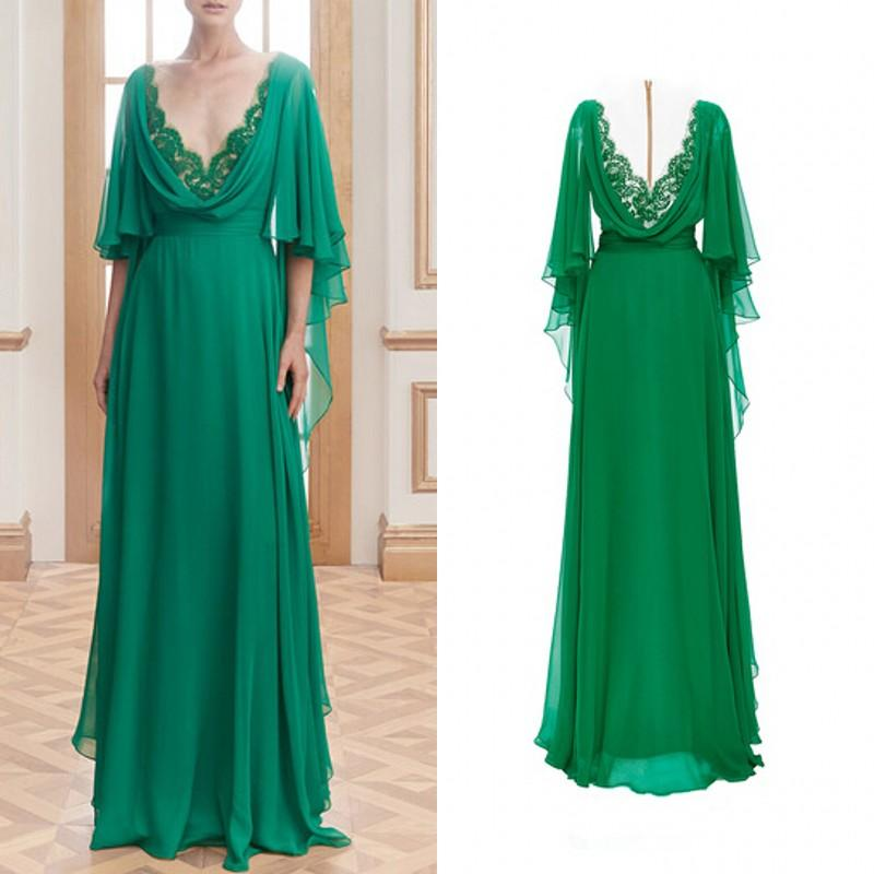 Green Chiffon Half Sleeve Mother Of The Bride Dresses 2019 Farsali Summer Lace V Neck Sheer Back Formal Evening Dress Custom