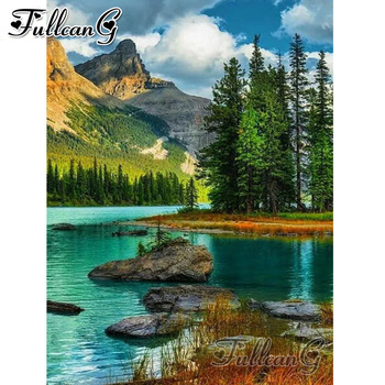 FULLCANG diy 5d diamond mosaic nature landscape lake painting full square round drill embroidery scenery FC2264