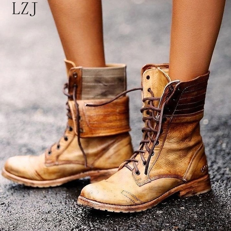 Women Mid calf Boots Low Heels Chaussure Vintage PU Leather Gladiator Lace Up Matin Shoes Woman Zapatos Mujer Sapato Botas 35 43 Mid-Calf Boots    - AliExpress