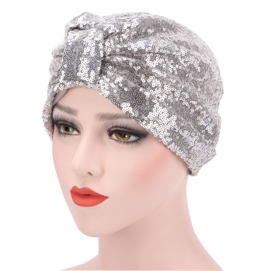 Fashion Sequins Hijab Caps Trendy Muslim Indian Wrap Inner Hijabs Caps For Women Turban Femme Musulman Islamic Head Scarf
