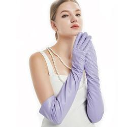 60cm(23.6) long classic back three lines sheep leather evening opera long gloves light purple violet
