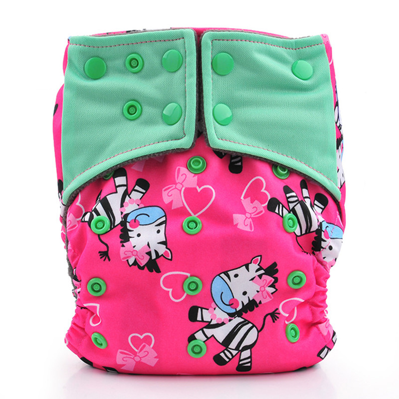 Happy Flute AIO Cloth Diaper Reusable Diapers For Baby Breathable Bamboo Charcoal Double Gussets OS Pocket Diaper Fit 3-15kg