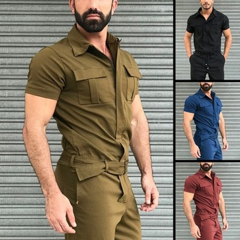 2020 Fall Men Short Sleeve Basic Work Coverall Male Pure Color Cargo Overalls Casual Street Wear Jumpsuit Men's Fashion Overalls 1