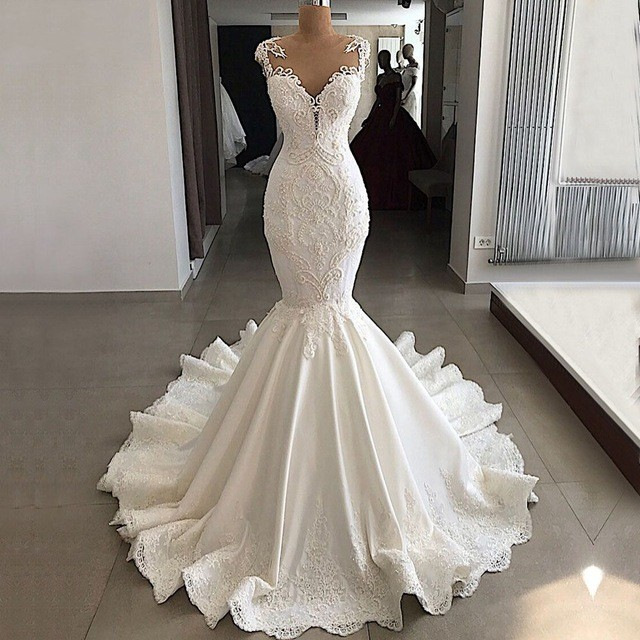 Vestidos De Novia Luxury Cap Sleeve Mermaid Wedding Dresses 2019 Beaded Lace Satin Bride Wedding Gowns Dress Robe De Mariee