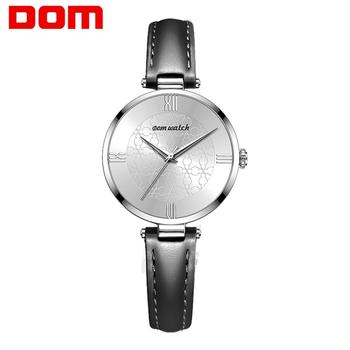 DOM Womens Watches Top Brand Luxury Waterproof Watch Fashion Ladies Leather Ultra-Thin Casual Wrist Watch Quartz Clock G-1294 dom men watches top brand luxury quartz watch casual quartz watch black leather mesh strap ultra thin fashion clock male relojes