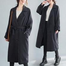 2021 Fashion Oversized Women Trench Coat Spring Autumn Casual Tops Black Windbreaker Long Loose Jackets Plus Size 5XL KW1904
