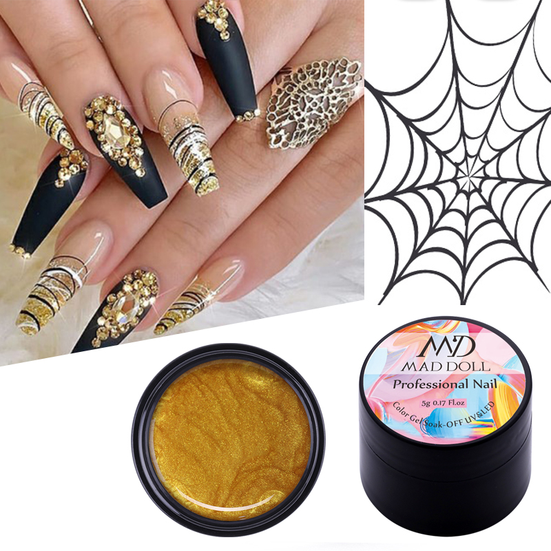 5g MAD DOLL Painting UV Gel Nail Polish Metallic Spider Liner Polish Soak Off Nail Art Gel Varnish Sparkling Nail Design