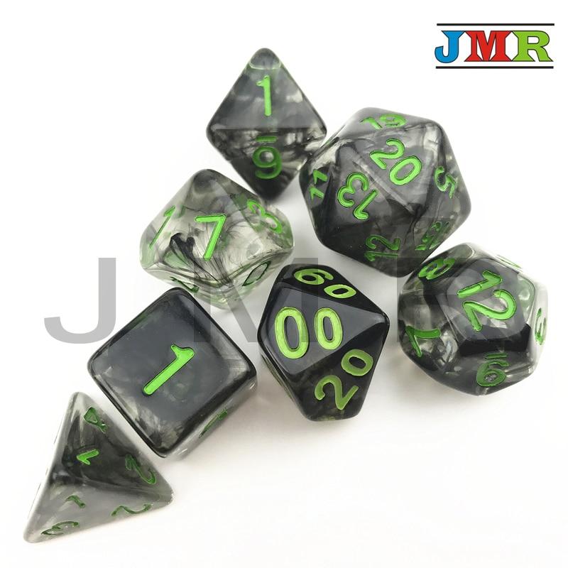 Effet nebulaire 7 pièces/ensemble Juegos De Mesa Dados noir avec vert nombre dés De D4 D6 D8 D10 D10 % D20 pour mdn Rpg