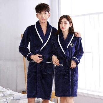 Lovers Thicken Kimono de Invierno Azul Marino Albornoz bata Coral Fleece Lencería íntima suelta informal acolchado bata de casa