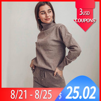 Women suit track costume 2 pieces sets Autumn winter solid turtleneck pullovers and long knitted pants sweater knitted suits