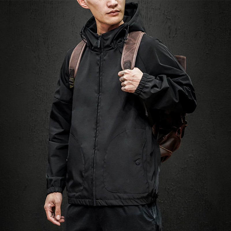 2020 Spring And Autumn New Japanese Maceda Black Wall Large Size Hooded Jacket Fashion Casual Solid Color Shirt Black / Grey