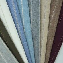 Tela de algodón y lino a rayas para almohada, mantel, camisa, 50x140CM, GB076