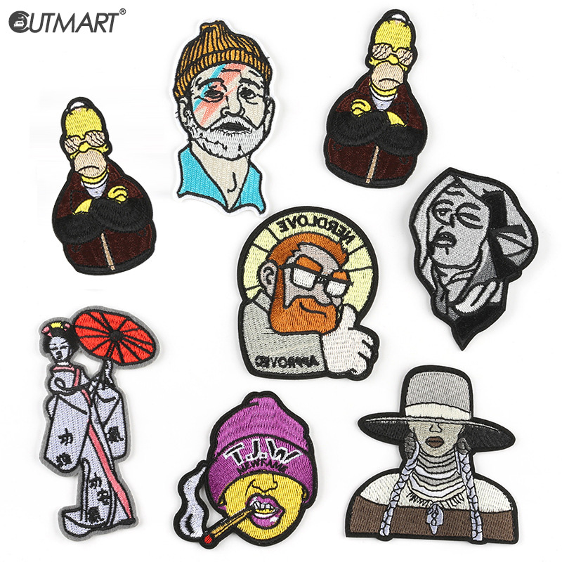 Hip Hop Character Embroidered Patches For Clothing Diy Applique Rock Sewing Iron On Patches Stripes Thermal Stickers On Jeans