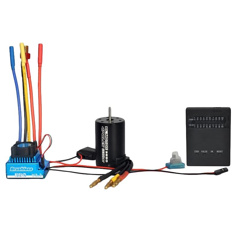 1:10 Car Bl 3650 3900Kv Brushless Motor 80A Waterproof Brushless Esc + Program Card Combination Details, For 1/10 Rc Car