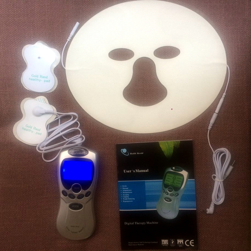 Tens Electric Pulse Massager Full Body Acupuncture Therapy Machine With A Conductive Face Mask Muscle Stimulator Gift