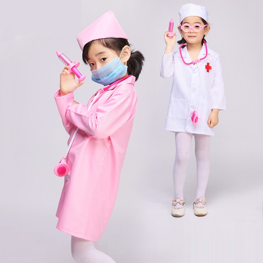 Kids Nurse Cosplay Costume Performance Clothing For Girls Halloween Party Wear Boys Doctor Coat Children Fancy Nurse Uniforms