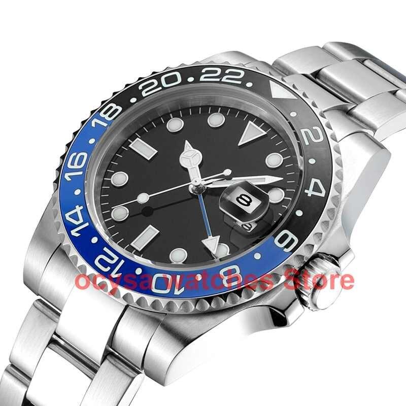 Ocysa Mechanical Automatic Men Watch Gold Relogio Masculino Gmt Ceramic Bezel  Sport Mens Watches  Top Brand Luxury Wristwatch