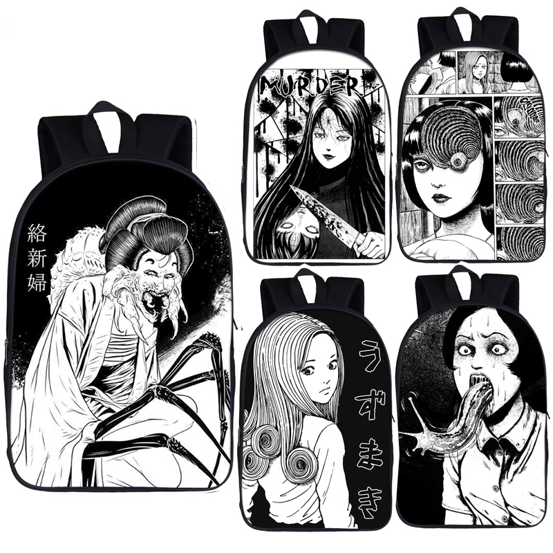Horror Manga Backpack Junji Ito Women Men Rucksack Jorogumo / Slug Girl Children School Bags For Teenager Boys Girls Book Bag