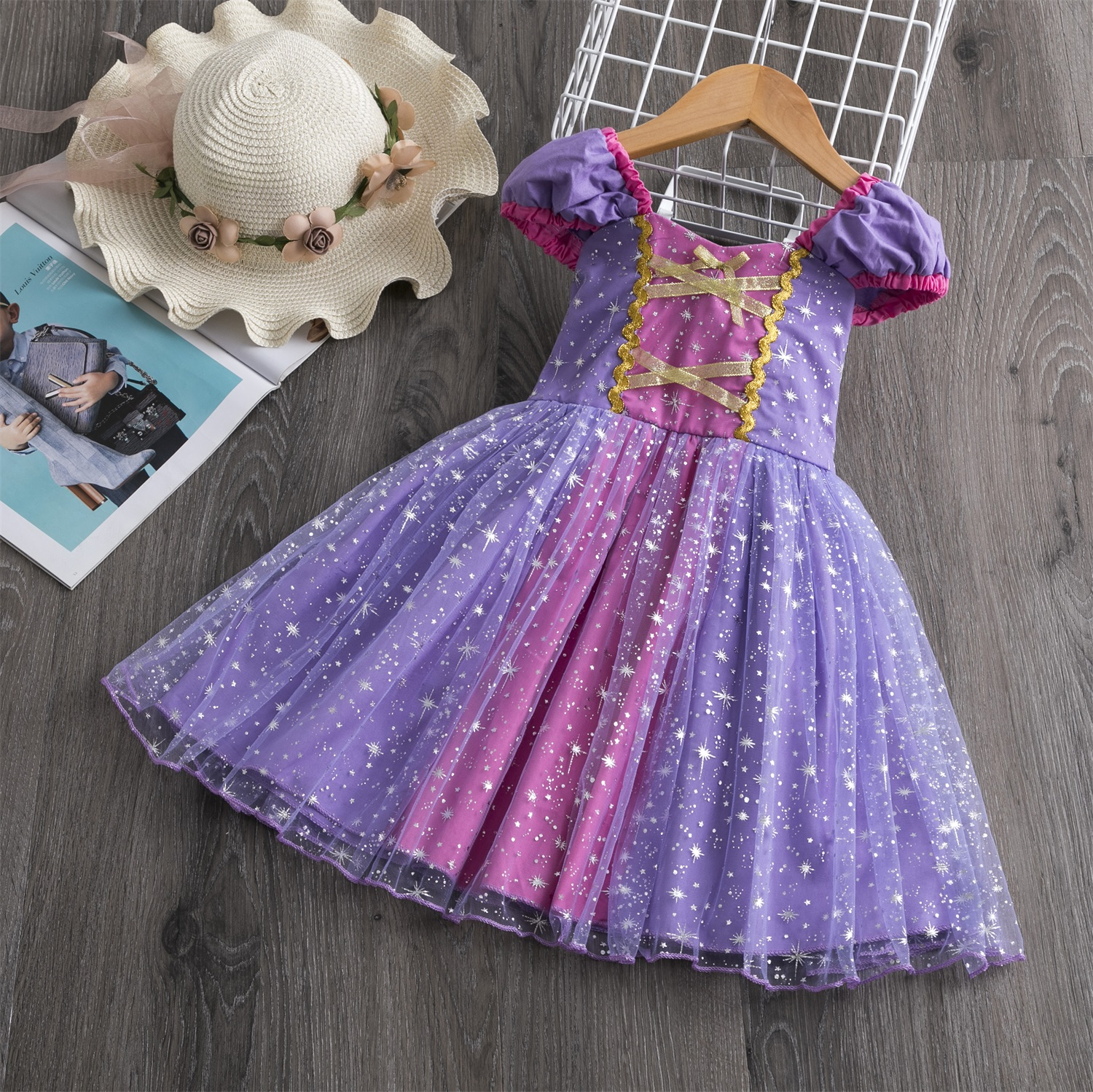 Baby Girls Rapunzel Princess Dress Toddler Girl Halloween Cosplay Clothes Infant Birthday Party Dress Up Costume for Kids