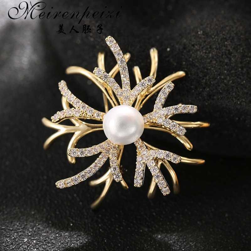 Meirenpeizi Baru Pearl Enamel Camellia Bros untuk Wanita Elegan Bunga Pin Fashion Perhiasan Mantel Aksesoris Bros