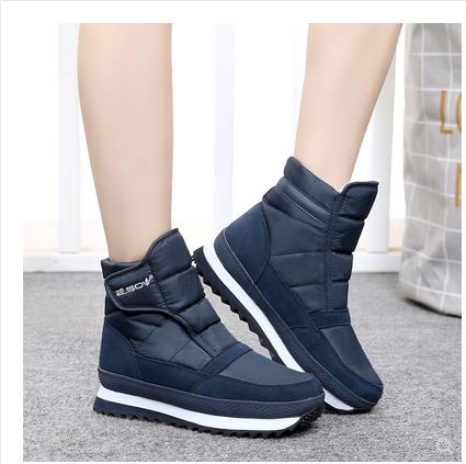 Shoes women boots 2019 fashion solid non-slip waterproof winter boots women shoes warm plush snow boots hook&loop ankle boots
