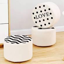 барный стул Dining Chair Детская мебель Children's Small Stool Cloth Art Round Seat Cartoon Solid Wood Stools Of Solids Color