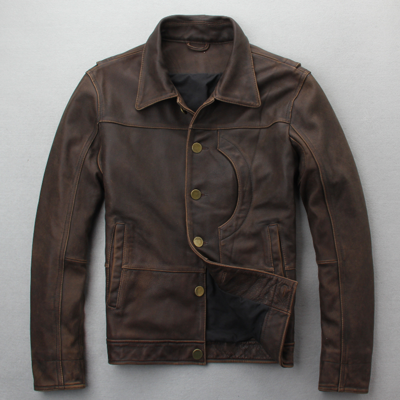 DHL Free Shipping. New Brand Clothing Mens Casual Vintage Pakistan Leather Jacket,man Genuine Leather Jacket.homme Slim