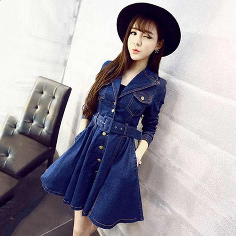 Новинка, весенне-осенние женские платья, модное женское джинсовое платье с отложным воротником и поясом, цельное джинсовое платье